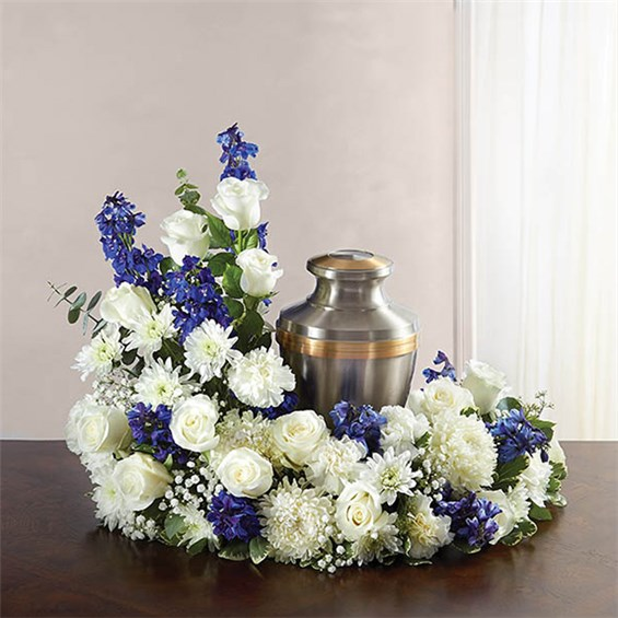 1 800 FLOWERS CREMATION WREATH BLUE AND WHITE Flowerama