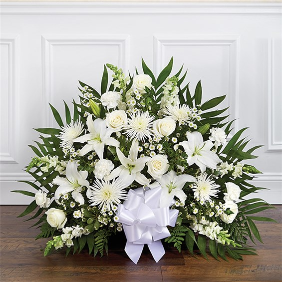 1 800 Flowers 174 Thoughts And Prayers Fireside Basket White