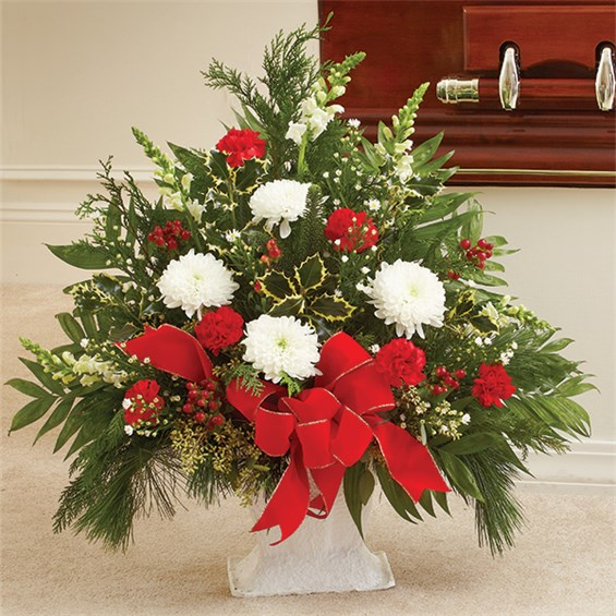 1 800 Flowers 174 Sympathy Floor Basket In Christmas Colors